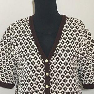 St. John Sweaters - St. John Short Sleeve Cardigan Geometric Brown M
